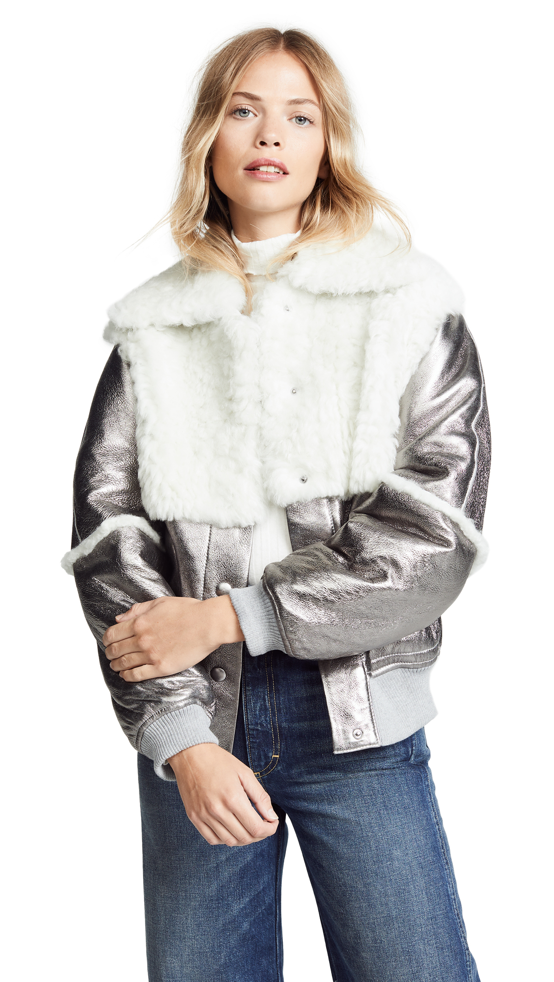 See by Chloe Metallic Bomber Shearling Jacket online sales