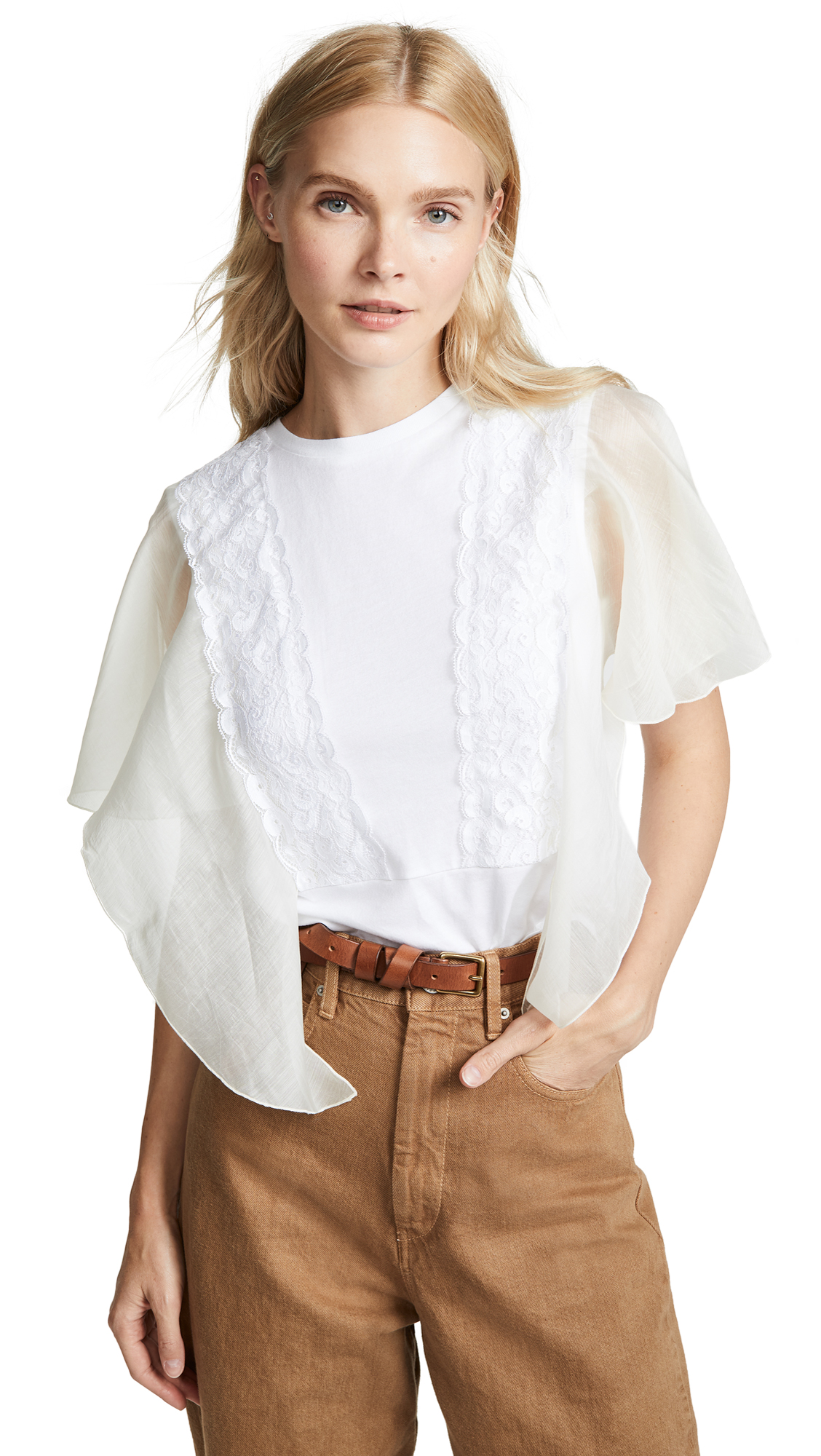 See by Chloe Sheer Sleeve Tee In White Powder