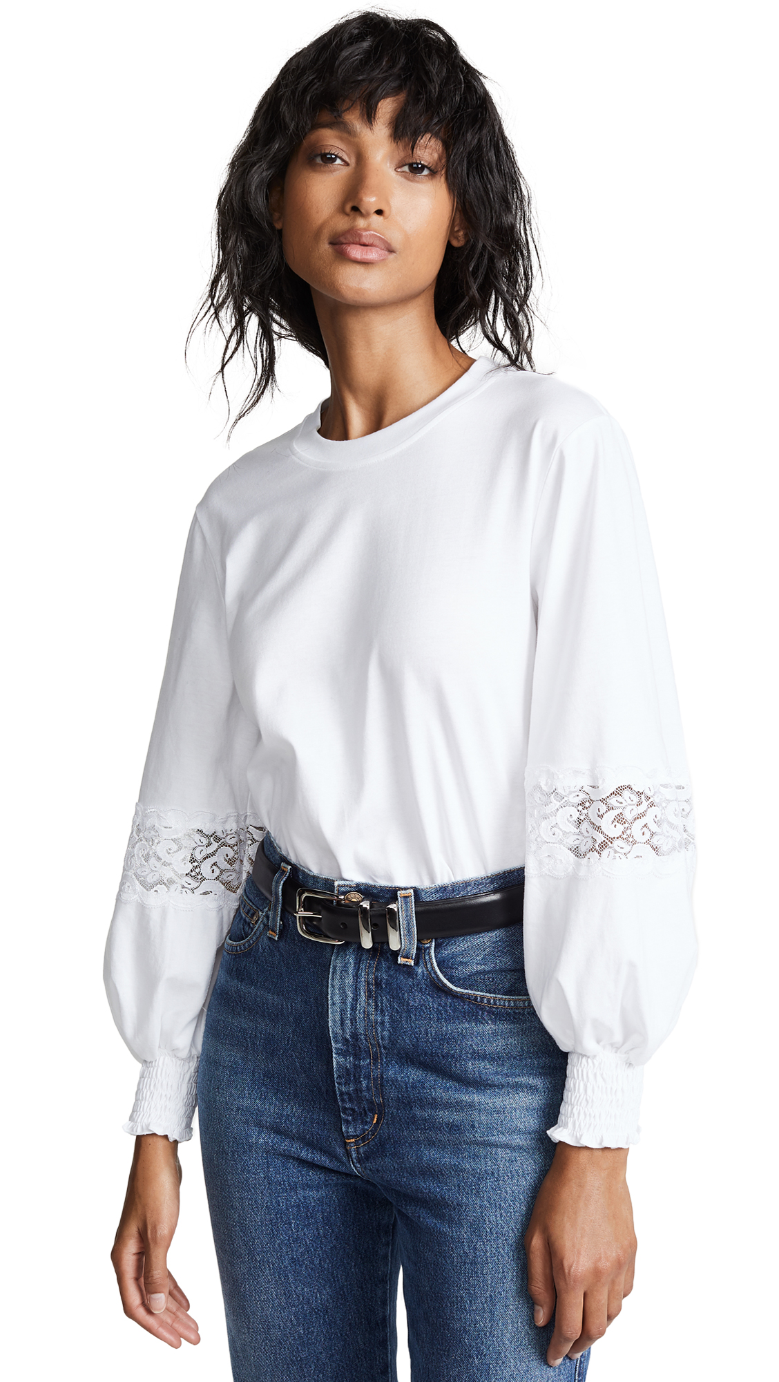 See By Chloe White Lace Detail T-Shirt, White Powder