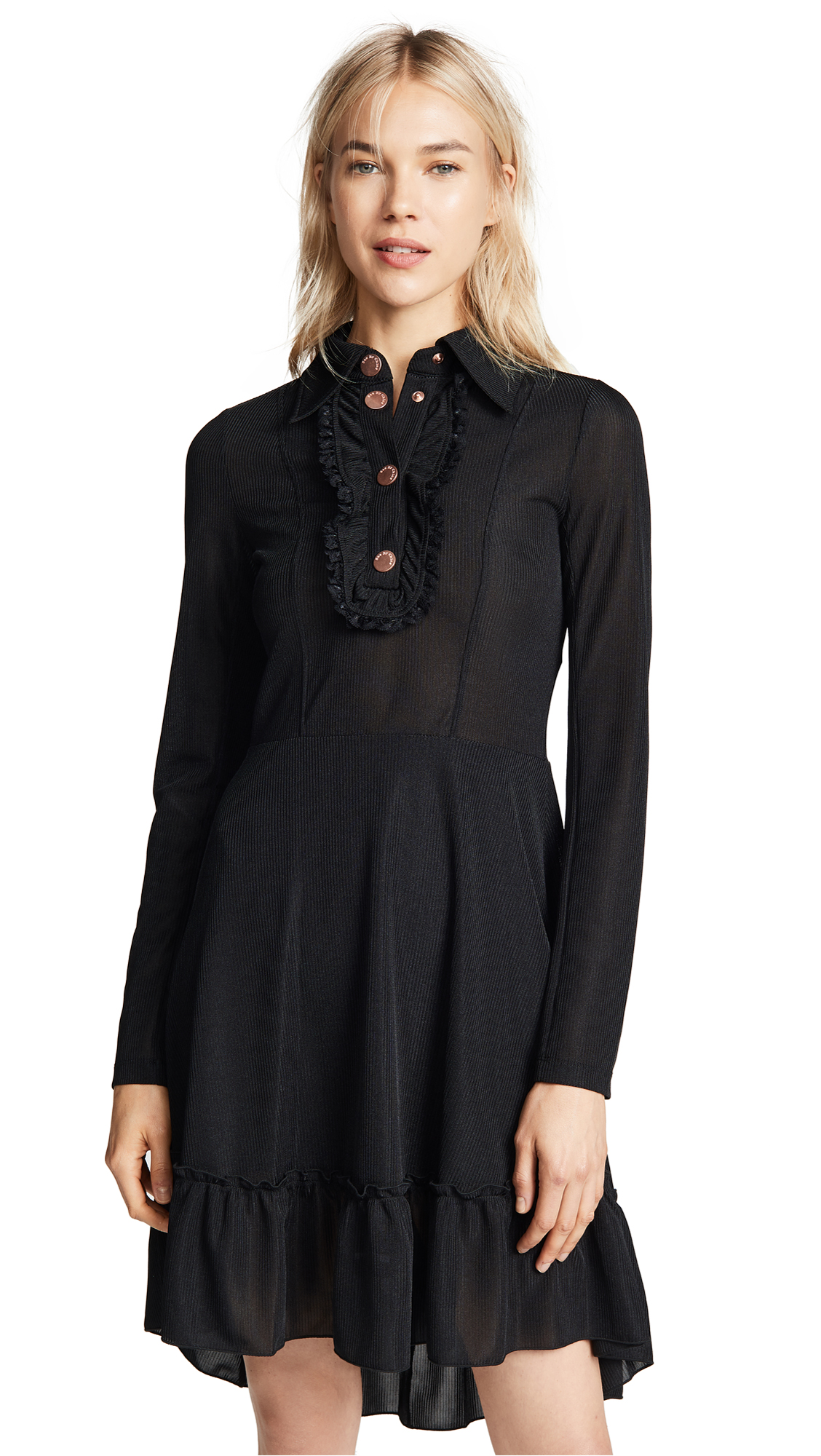 See by Chloe Collared Long Sleeve Dress In Black
