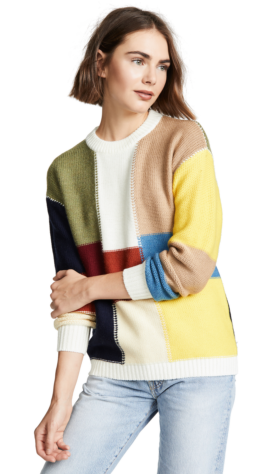 See by Chloe Block Color Sweater In Multicolor Brown