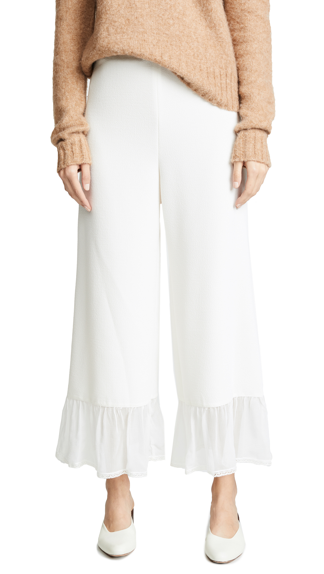 See by Chloe Sheer Trim Pants In Eden White
