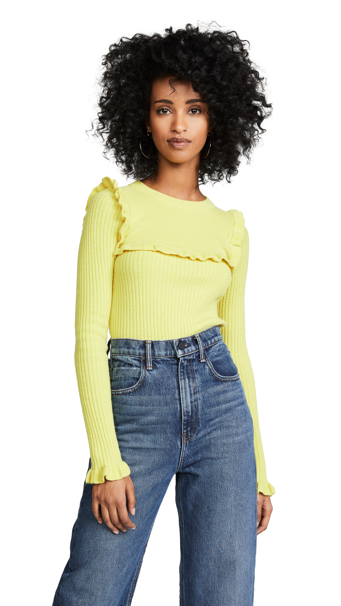 See by Chloe Fitted Ruffle Sweater In Organic Yellow