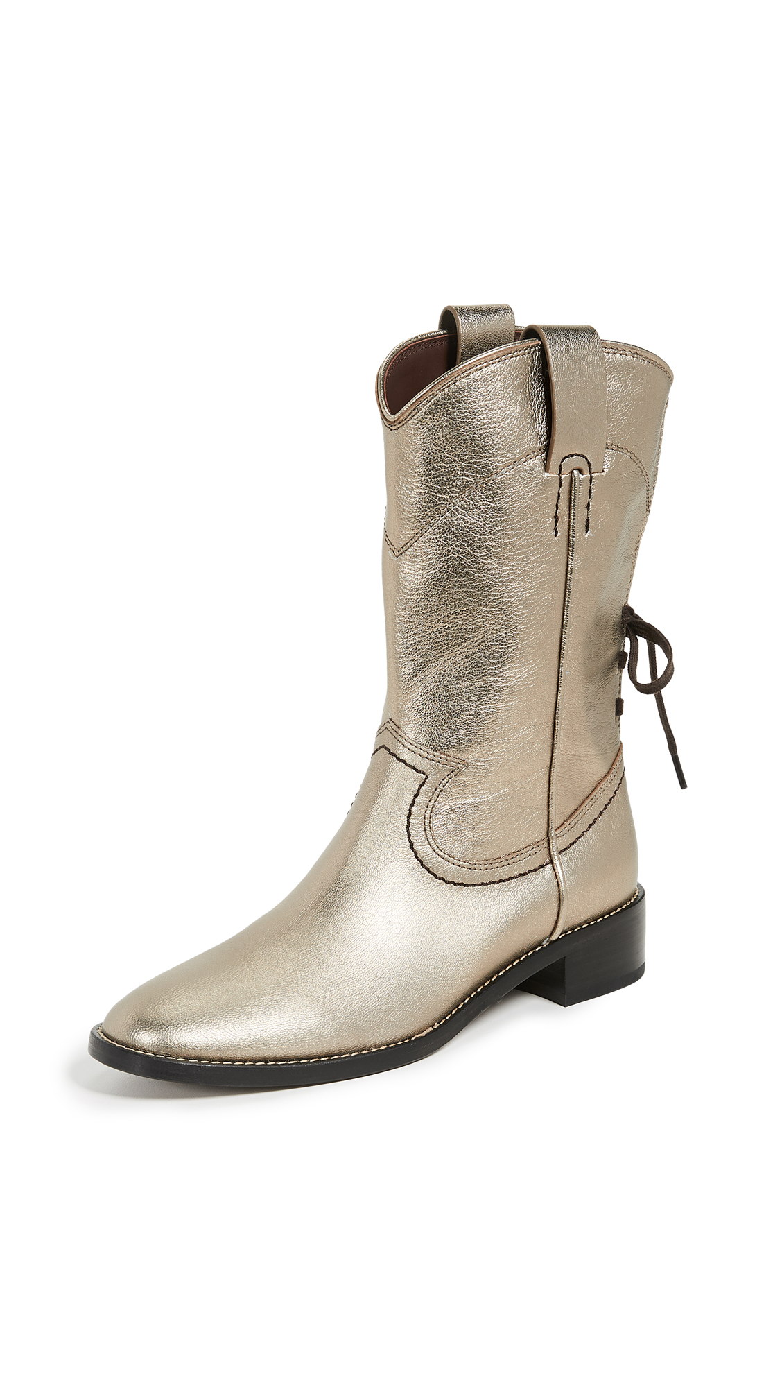 See by Chloe Annika Low Western Boots - Acciaio