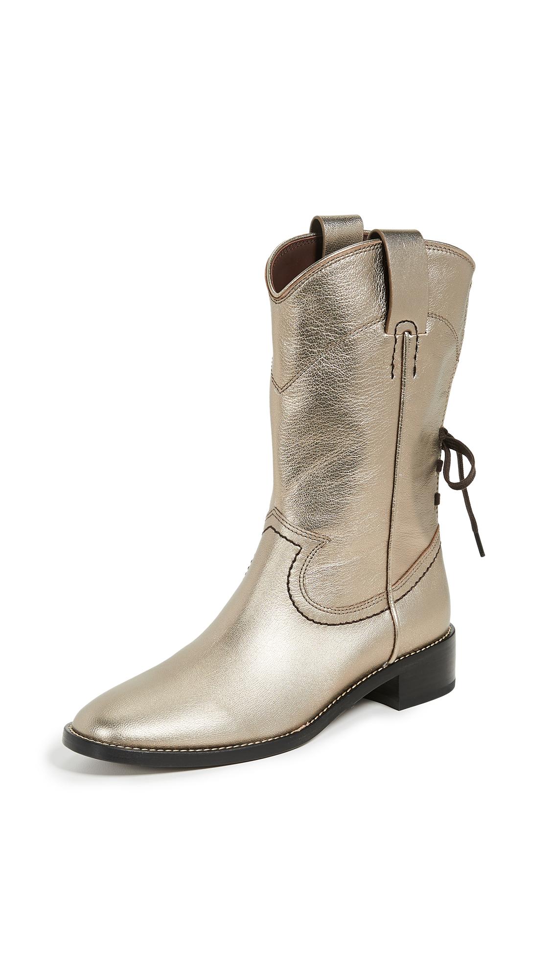 See by Chloe Annika Western Boots - Acciaio