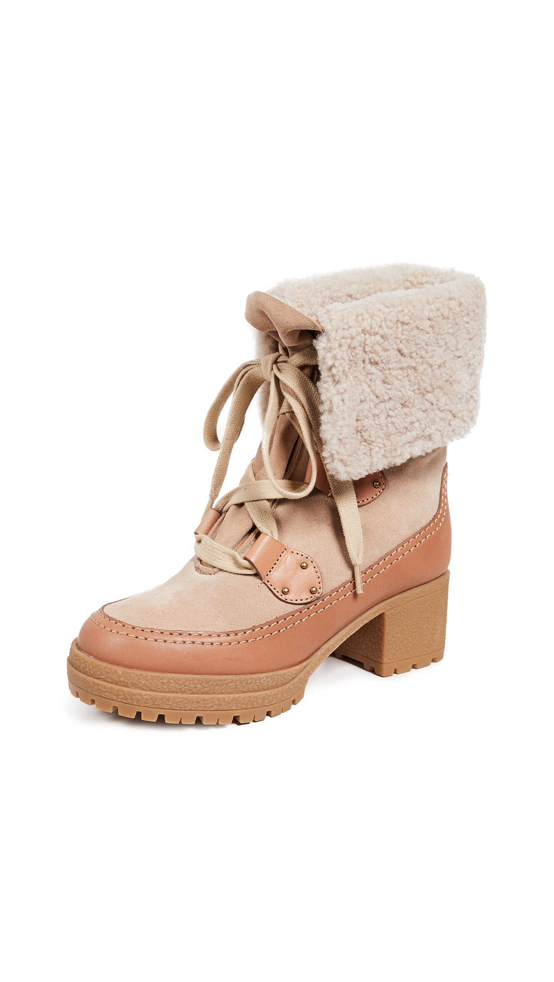See by Chloe Verena Mid-Heel Booties - Natural