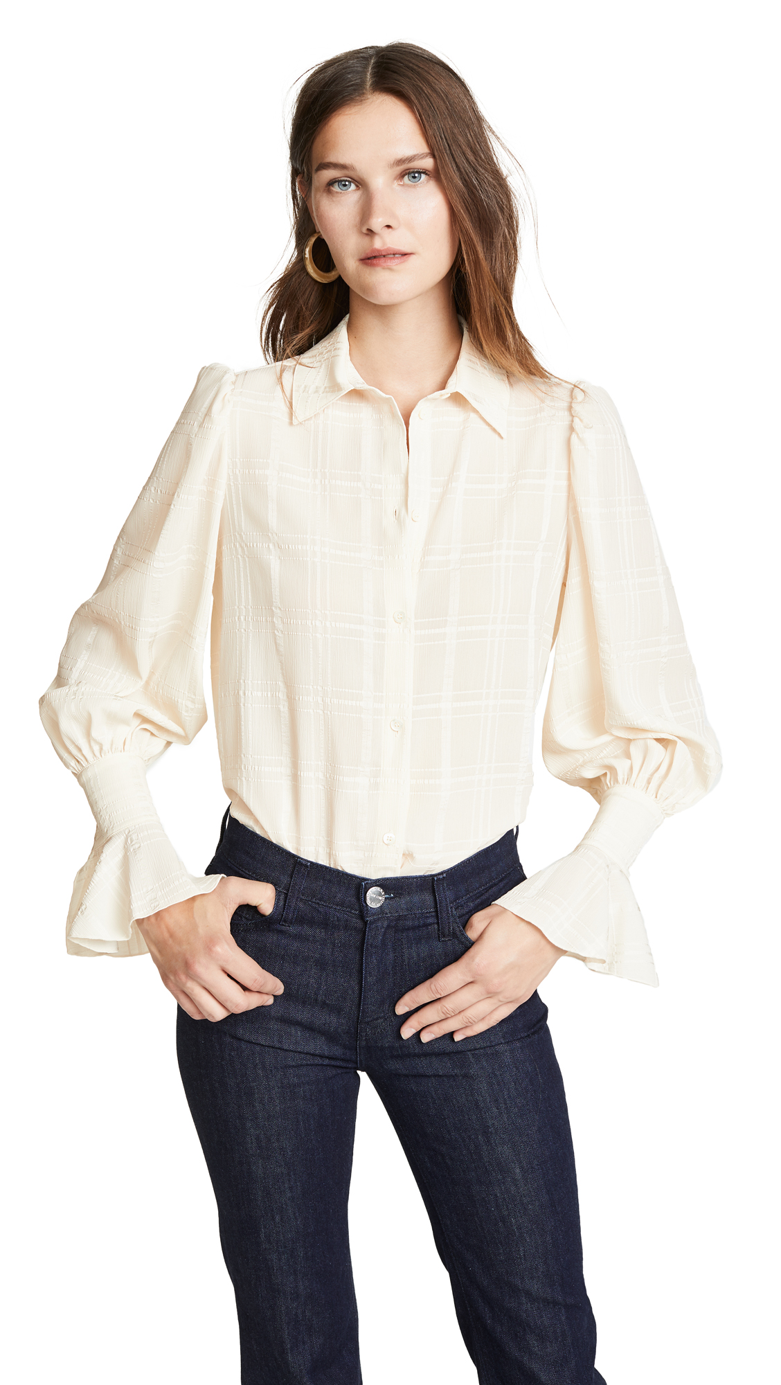 See by Chloe Billow Sleeve Blouse In Natural White