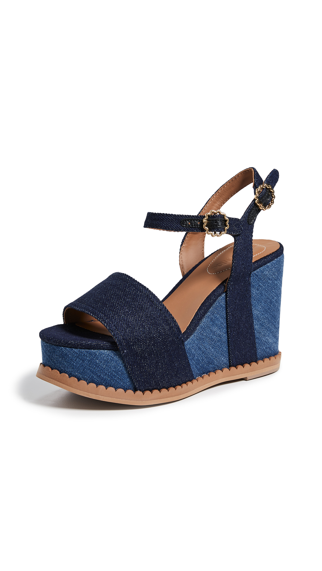 See by Chloe Carrie Super Wedge Sandals - Navy/Denim