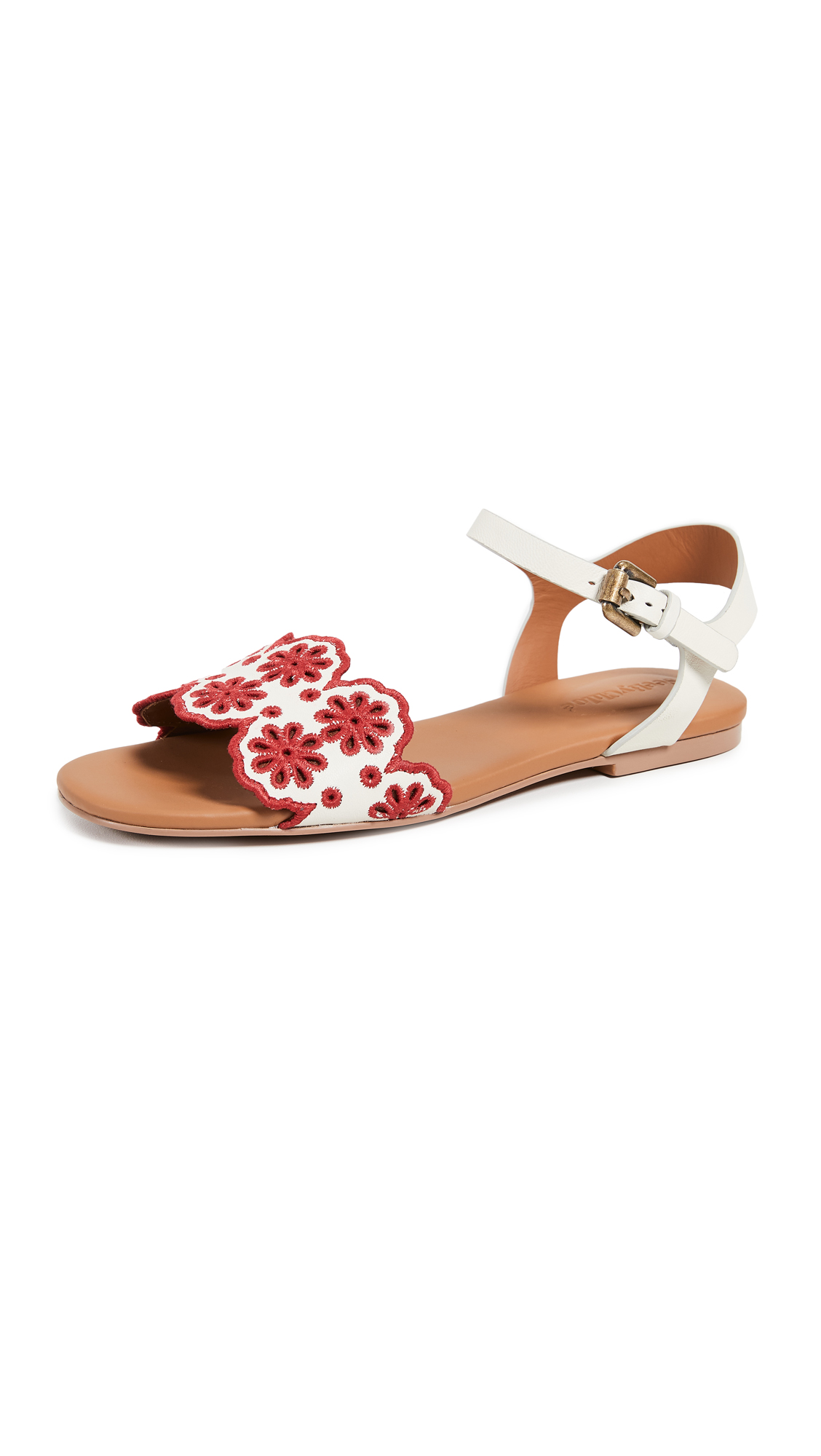 See by Chloe Krysty Floral Flats - Gesso/Red
