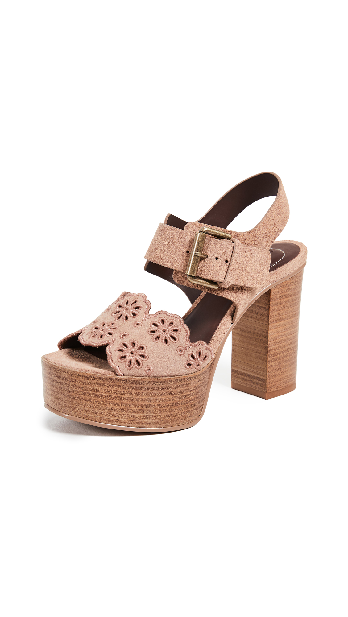 See by Chloe Krysty Foral Platform Sandals - Cipria