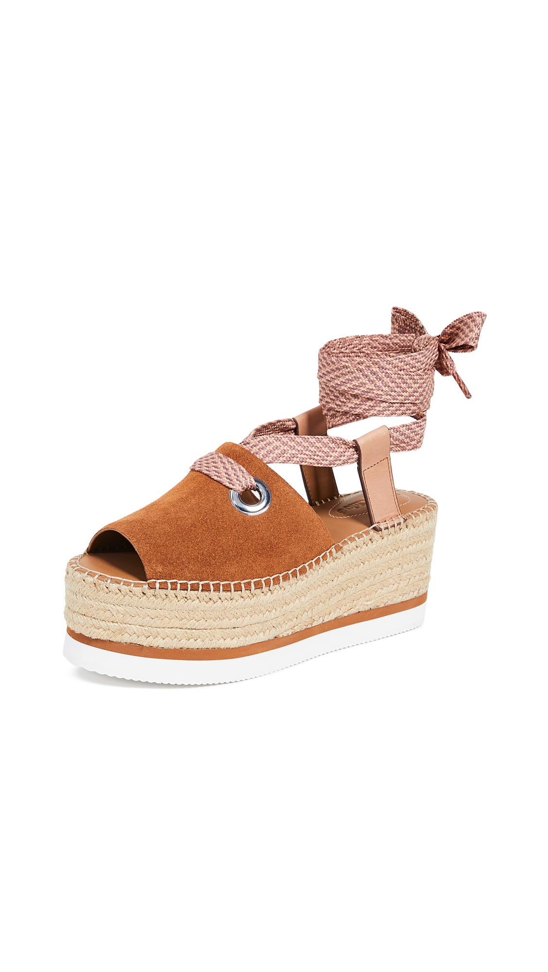 See by Chloe Glyn Amber Lace Up Espadrilles - Tan