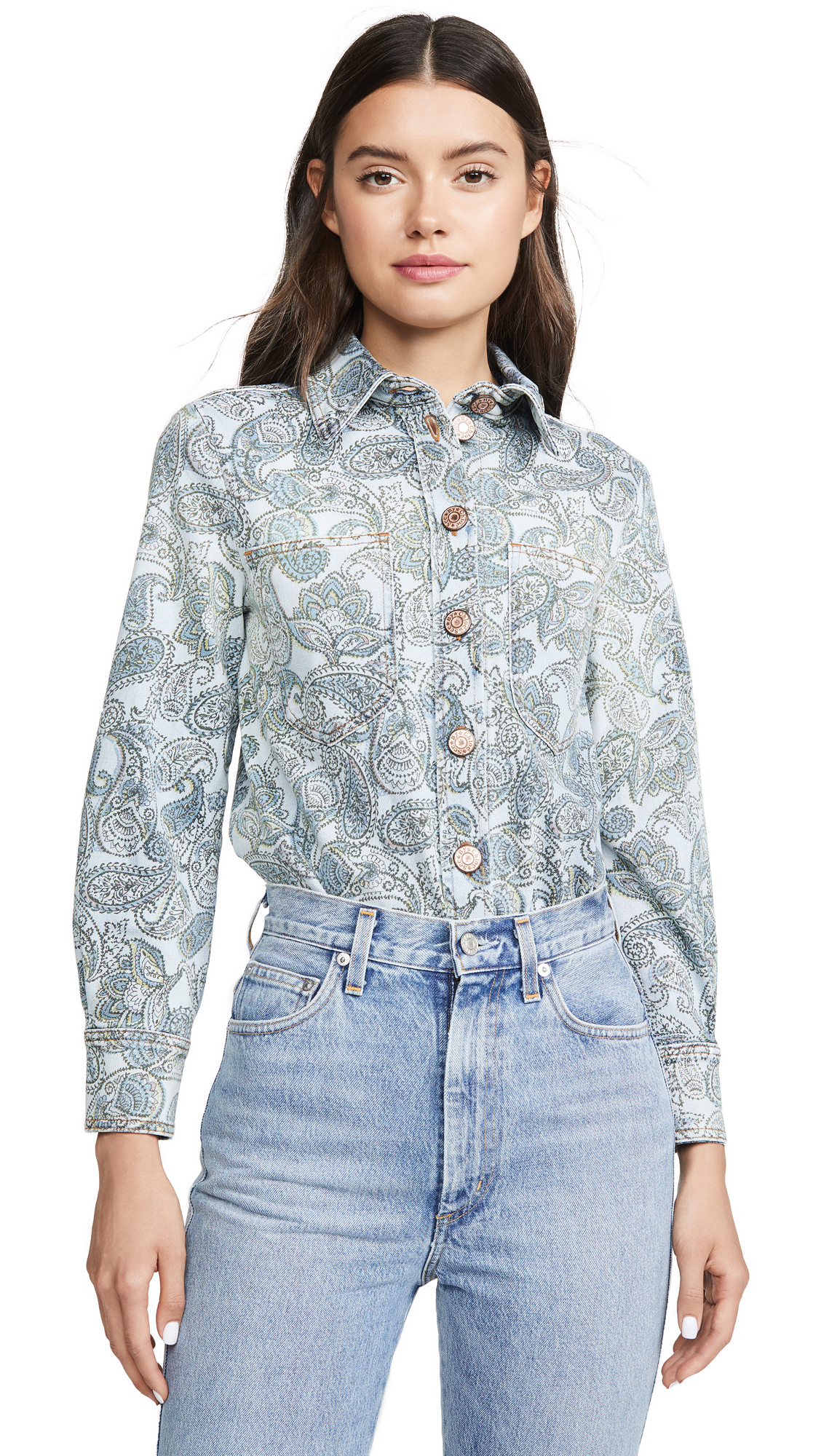 Buy See by Chloe online - photo of See by Chloe Paisley Print Denim Jacket / Shirt