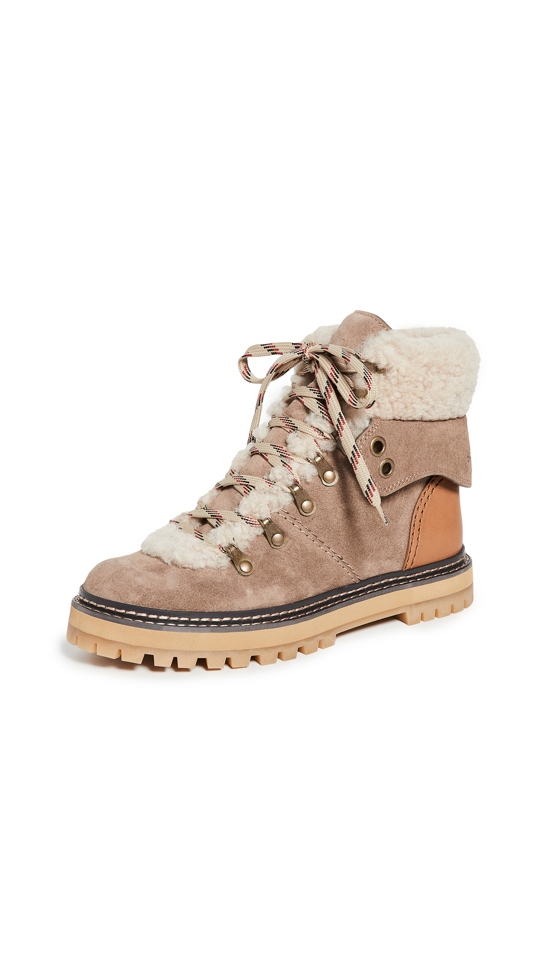 93e302c1cce Eileen Flat Shearling Hiker Boots in Taupe/Natural