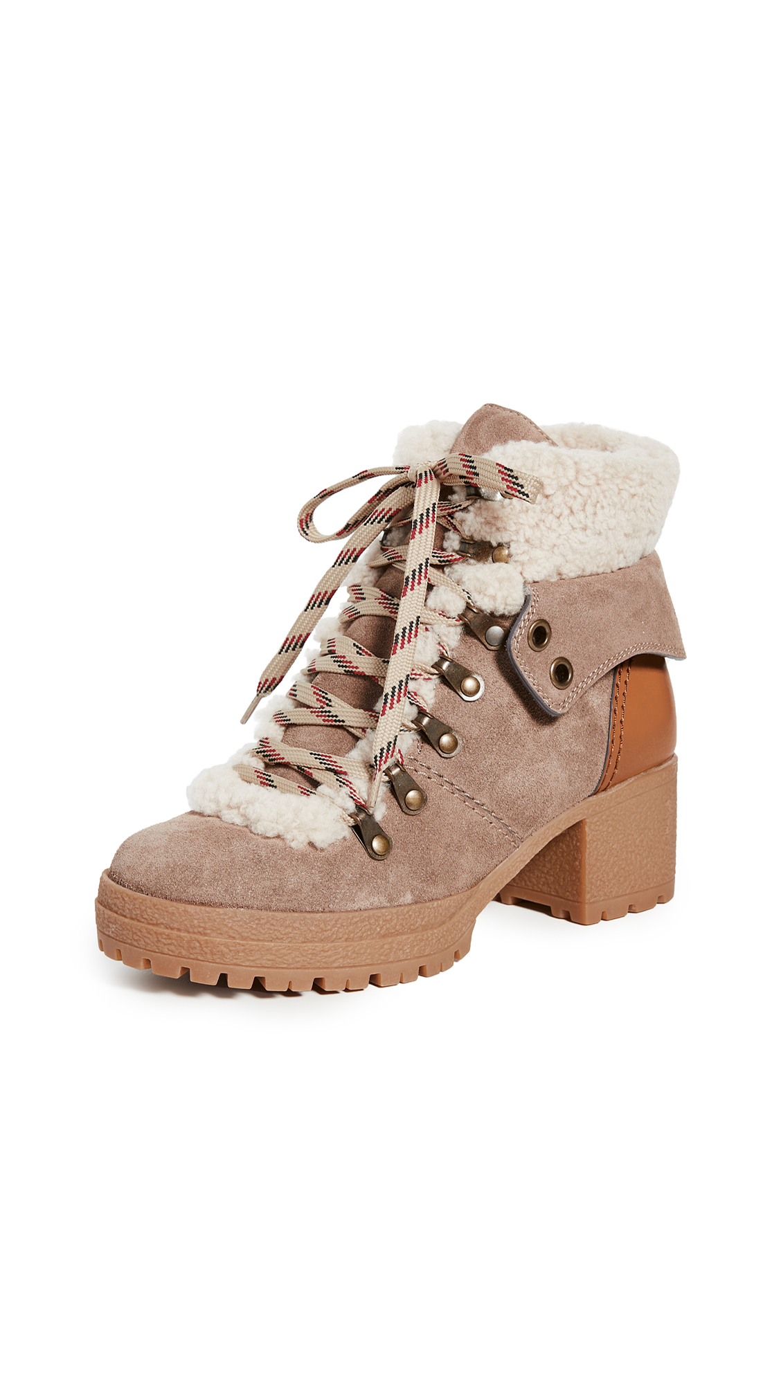 Buy See by Chloe online - photo of See by Chloe Eileen Mid Shearling Hiker Boots