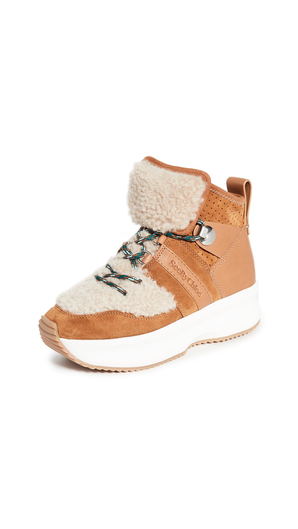 Buy See by Chloe online - photo of See by Chloe Casey Shearling Sneakers