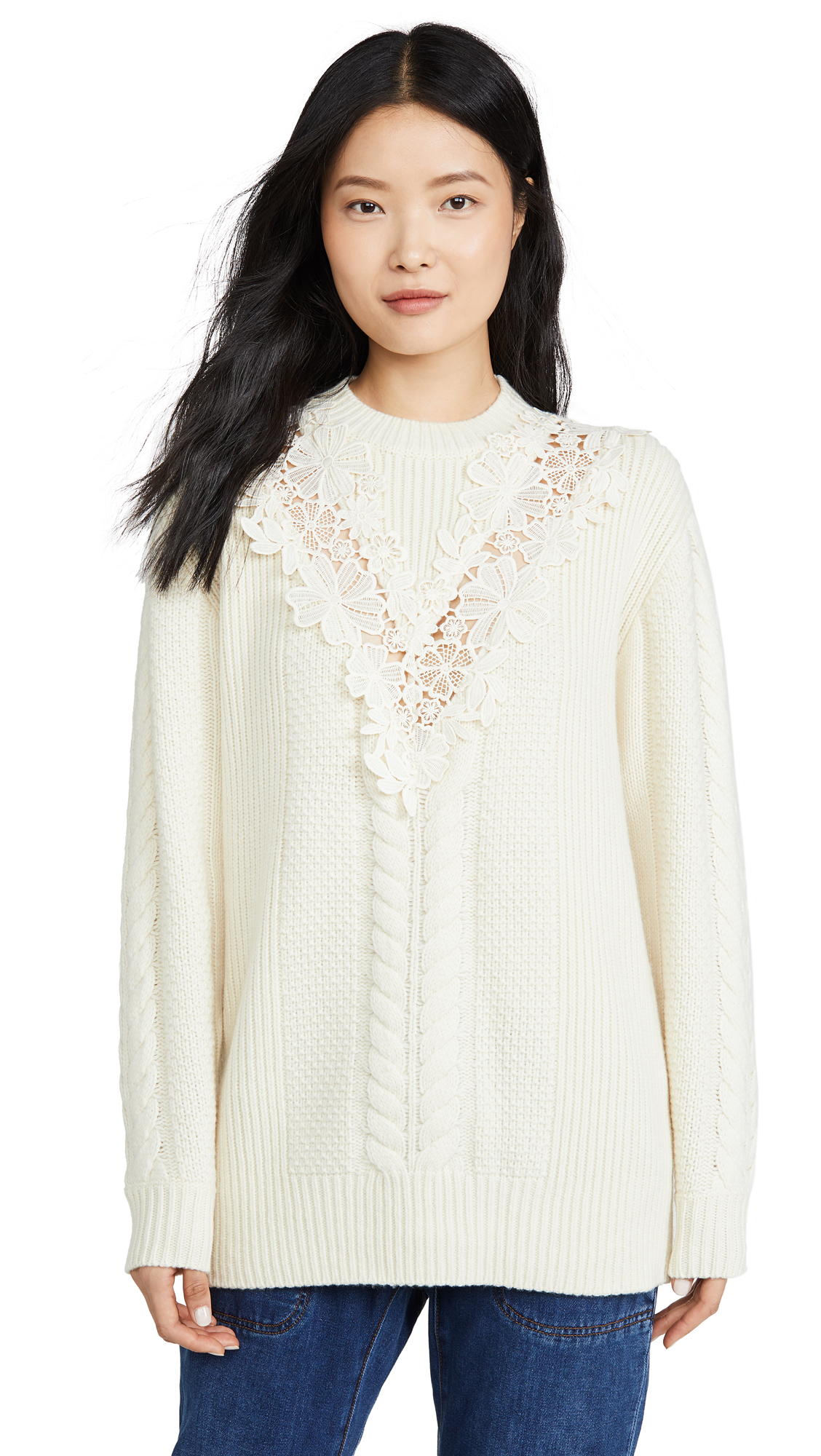 Buy See by Chloe online - photo of See by Chloe Lace Detail Pullover