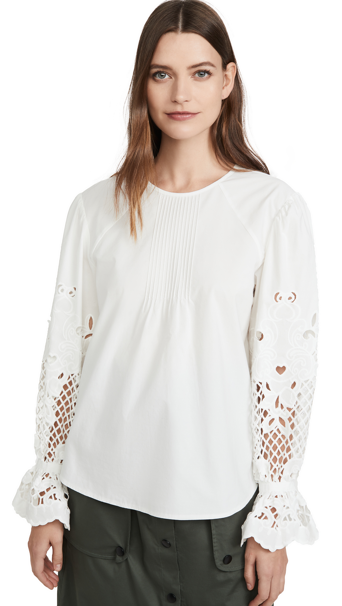Buy See by Chloe online - photo of See by Chloe Eyelet Sleeve Blouse