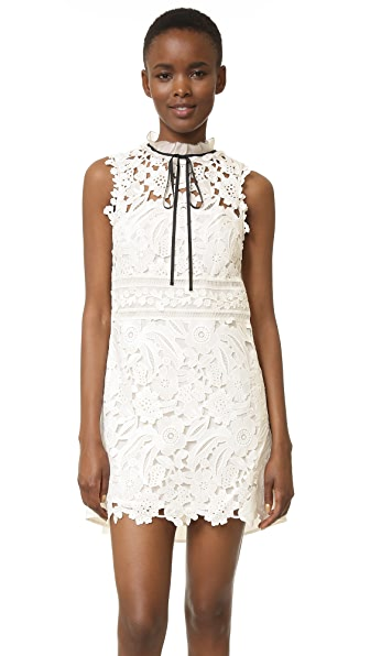 Self Portrait Watteau Mini Dress - White/Black