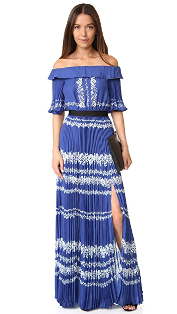 Self Portrait Off Shoulder Maxi Dress