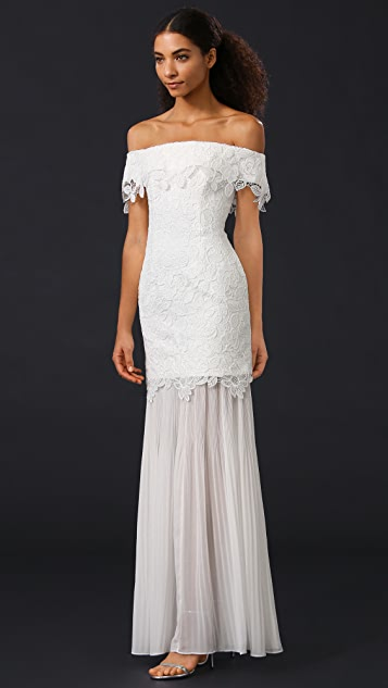 Self Portrait Off Shoulder Lace Gown