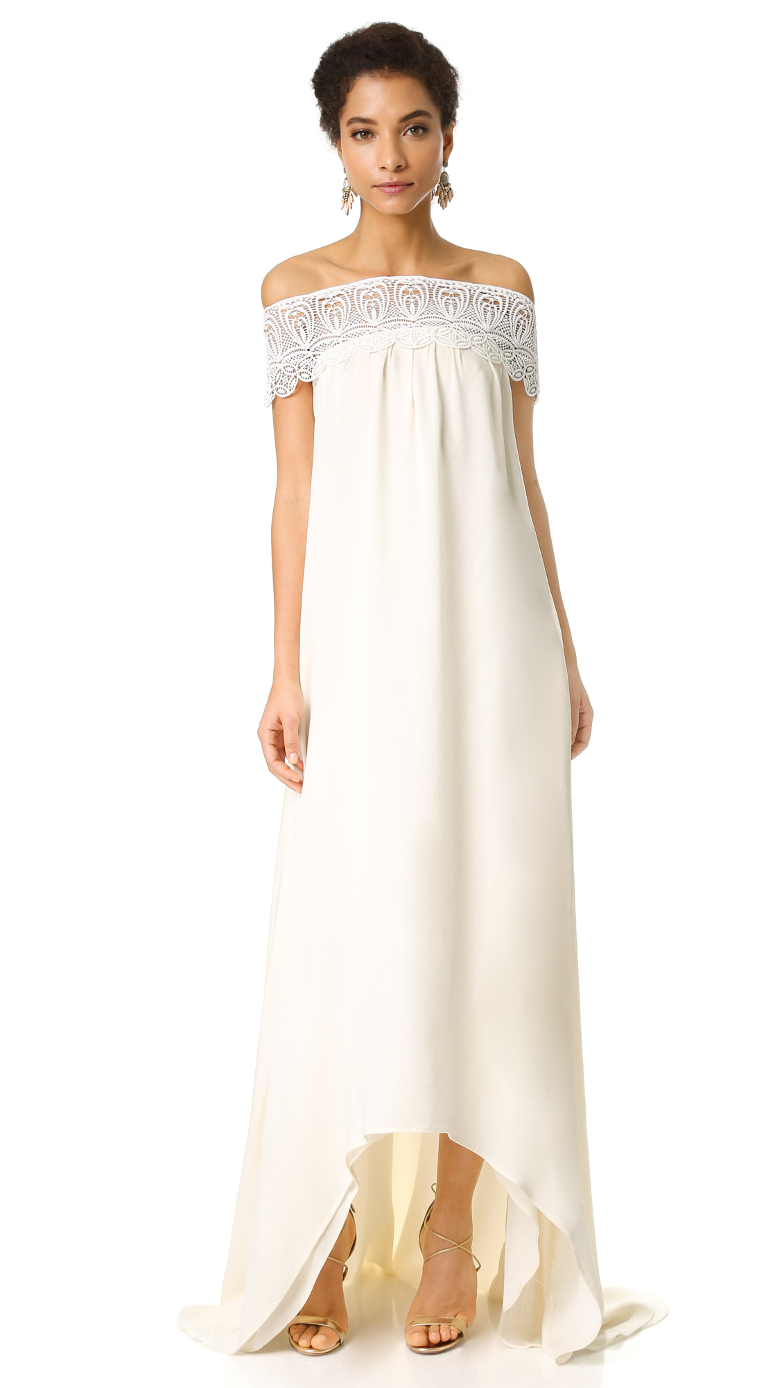 Self Portrait Off Shoulder Gown - Off White