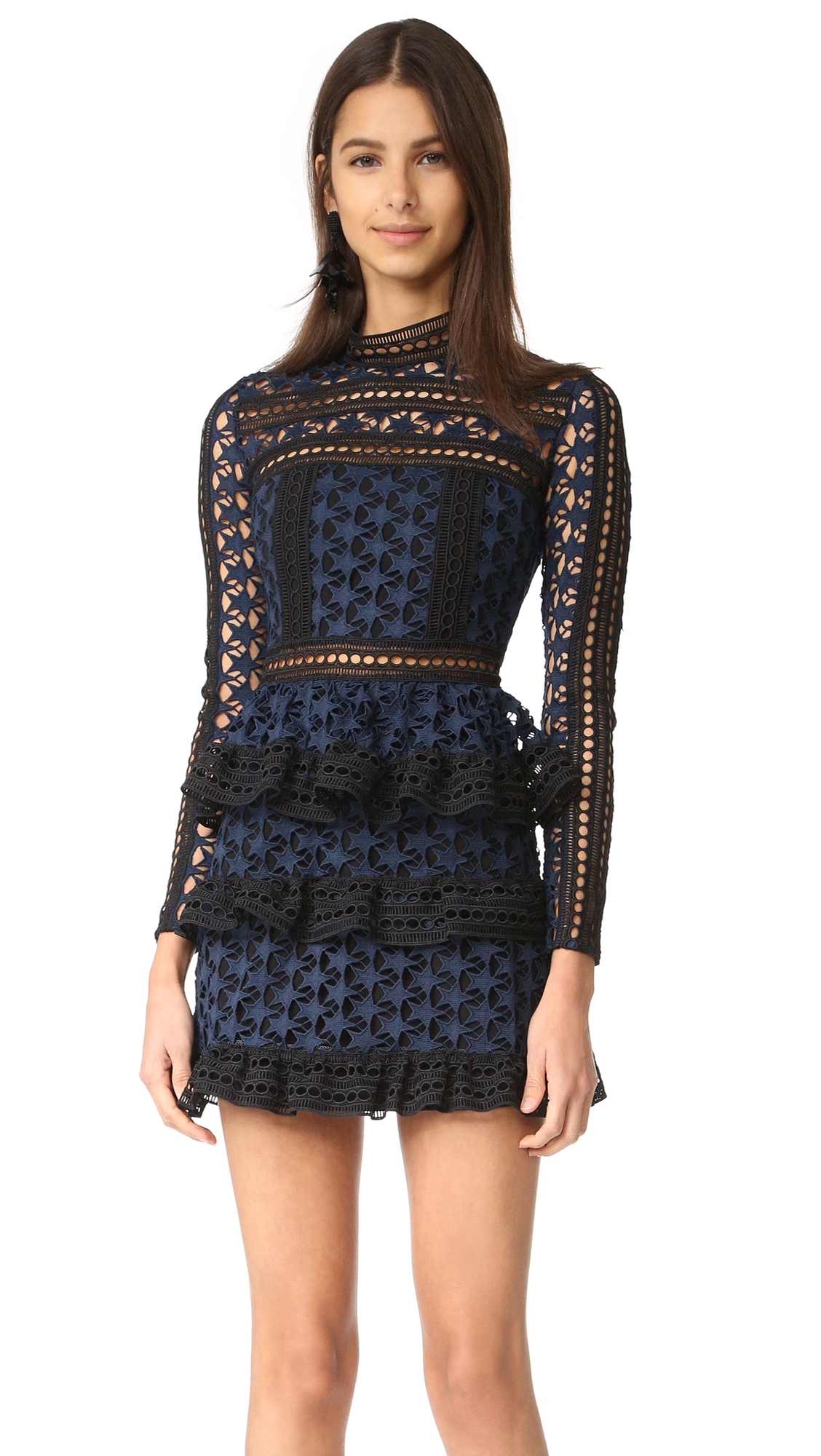 2aed662373 Self Portrait High Neck Star Lace Dress