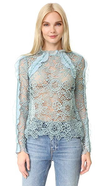 Self Portrait Cutout Floral Top In Icy Blue