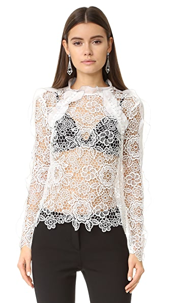 Self Portrait Cutout Floral Top