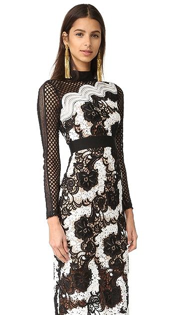 Self Portrait Asymmetrical Midi Dress