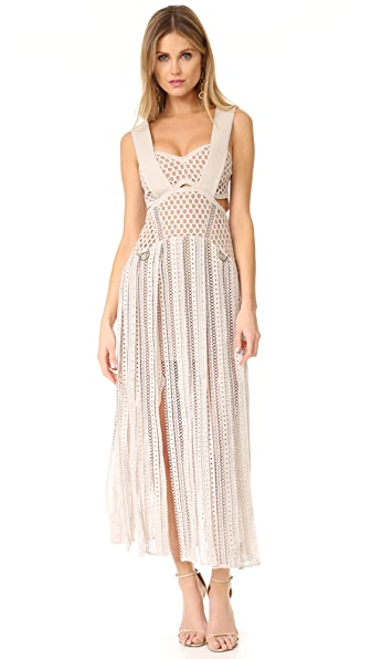 Self Portrait Avery Midi Dress In Cream