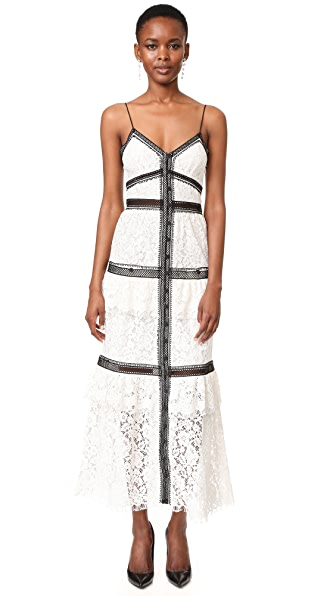 Self Portrait Lace Trim Maxi Dress