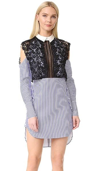 Self Portrait Платье из рубашечной ткани в полоску с накидкой