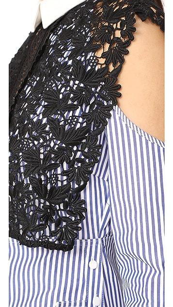 Self Portrait Stripe Shirting Cape Dress