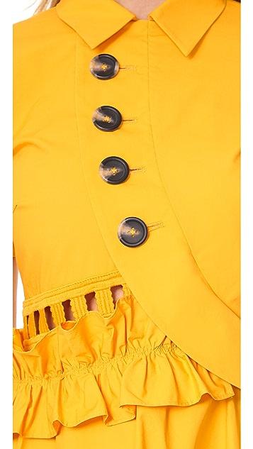 Self Portrait Button Shirtdress