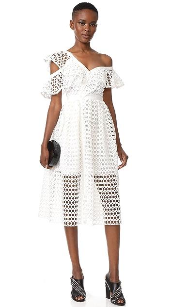 Self Portrait Lace Frill Midi Dress