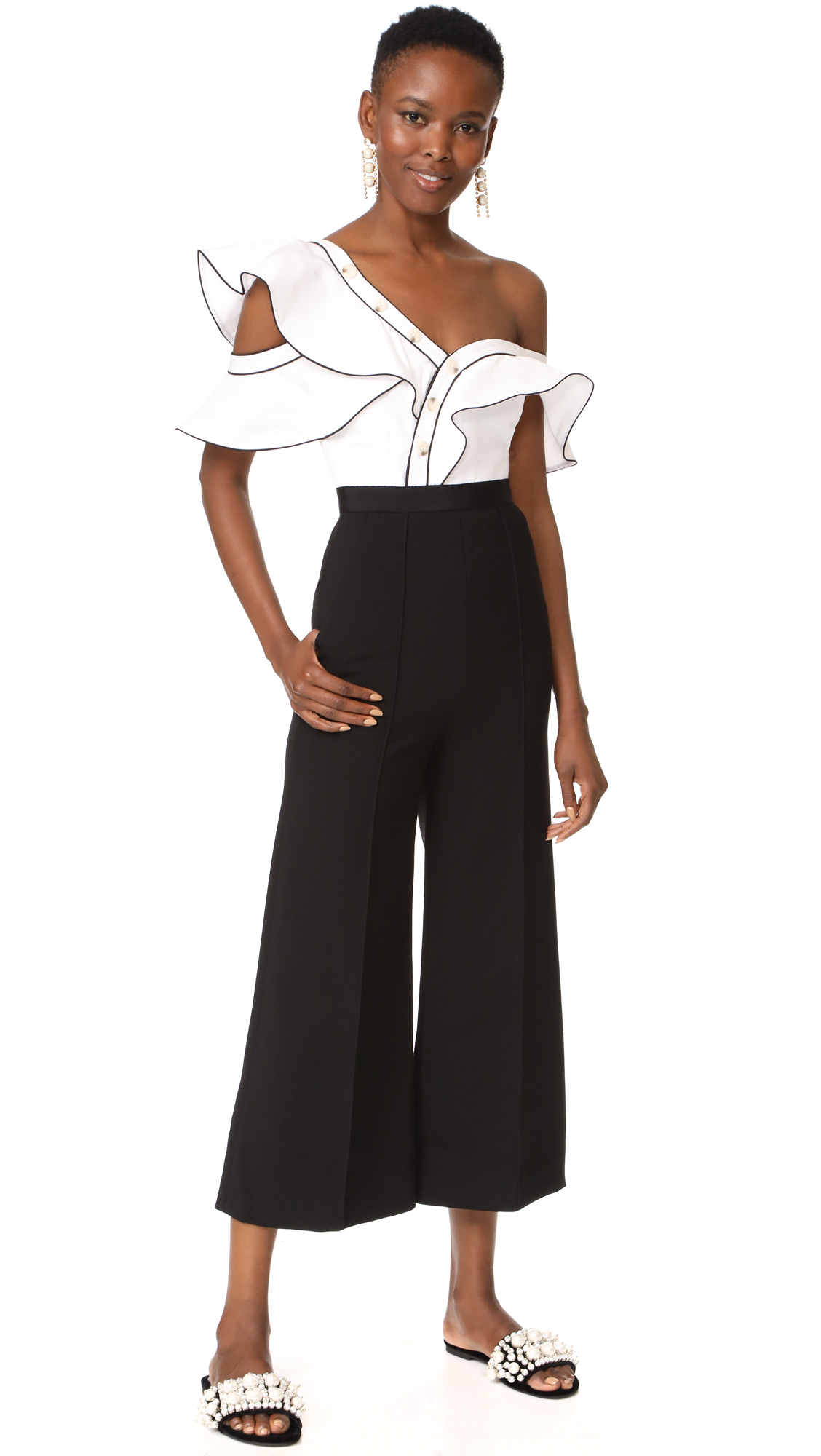 Self Portrait Frill Jumpsuit - Black/White