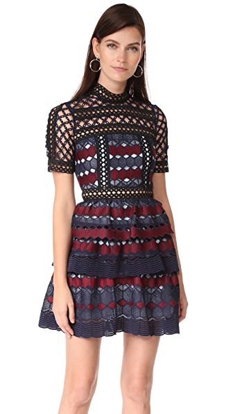 Self Portrait Hexagon Lace Mini Dress