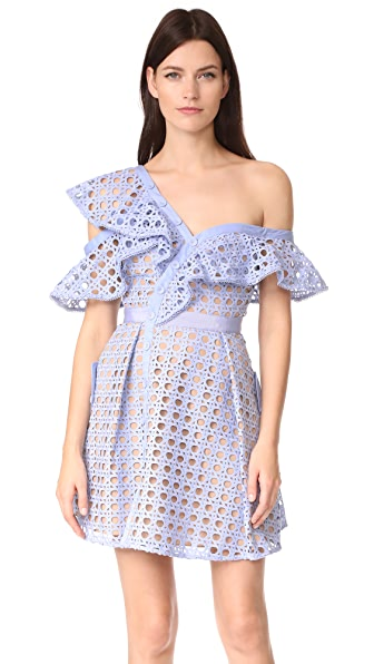 Self Portrait Guipure Frill Mini Dress