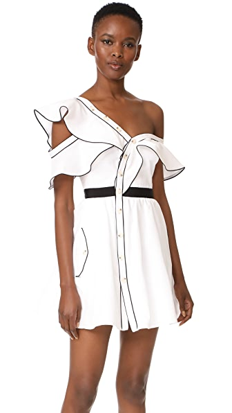 Self Portrait Frill Dress - White