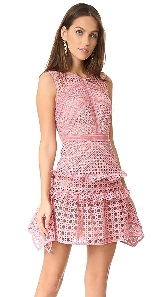 Self Portrait Crosshatch Frill Mini Dress