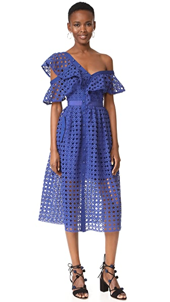 Self Portrait Frill Dress - Cobalt Blue