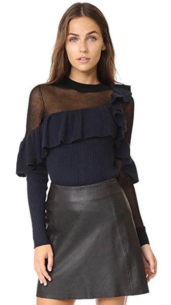Self Portrait Asymmetric Frill Sweater - Navy