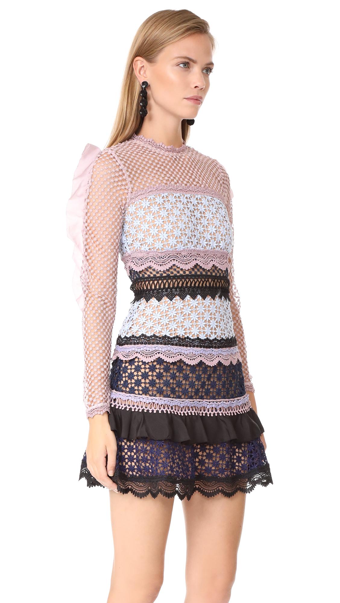 b244c1688768 Self Portrait Bellis Lace Trim Dress with Frilled Sleeves | SHOPBOP