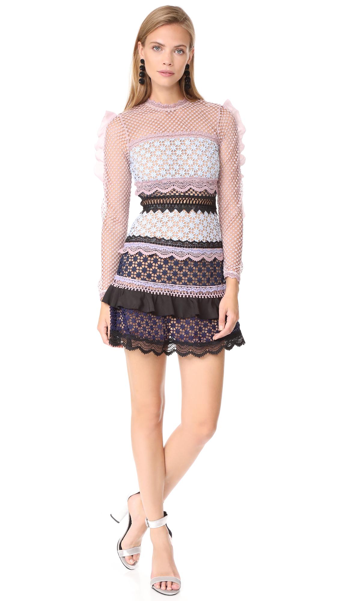 f20d9c42015a Self Portrait Bellis Lace Trim Dress with Frilled Sleeves | SHOPBOP