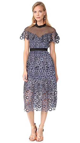 Self Portrait Sweetheart Yoke Frill Dress