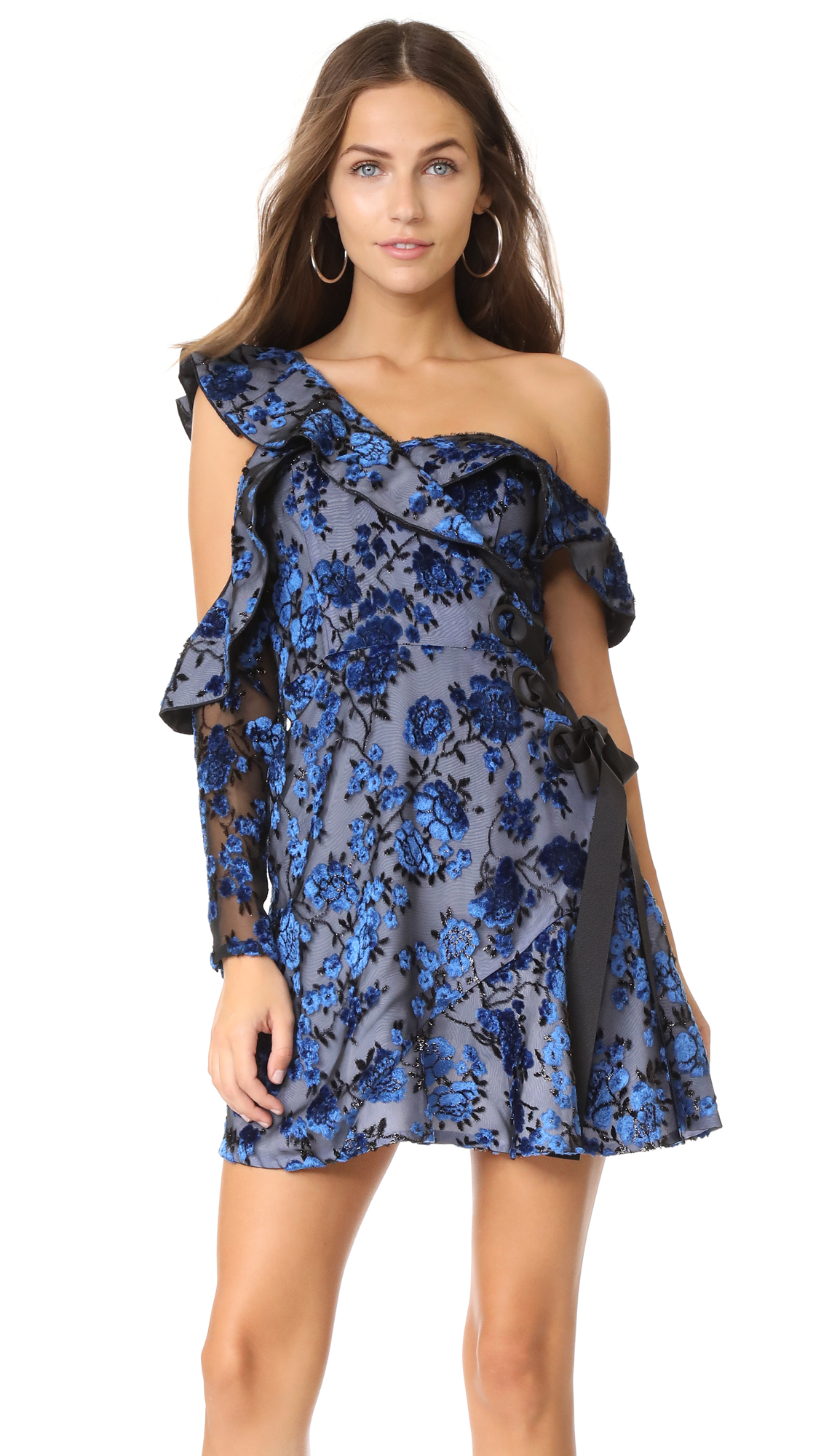 Self Portrait Eyelet Wrap Velvet Mini Dress - Turquoise Blue