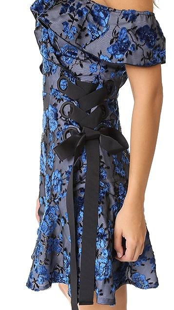 Self Portrait Eyelet Wrap Velvet Mini Dress