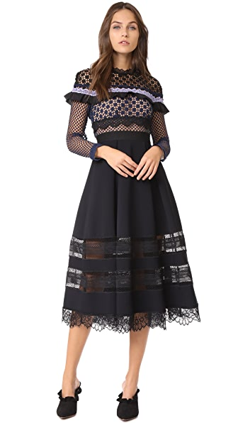 Self Portrait Bellis Lace Trim Dress with Full Skirt
