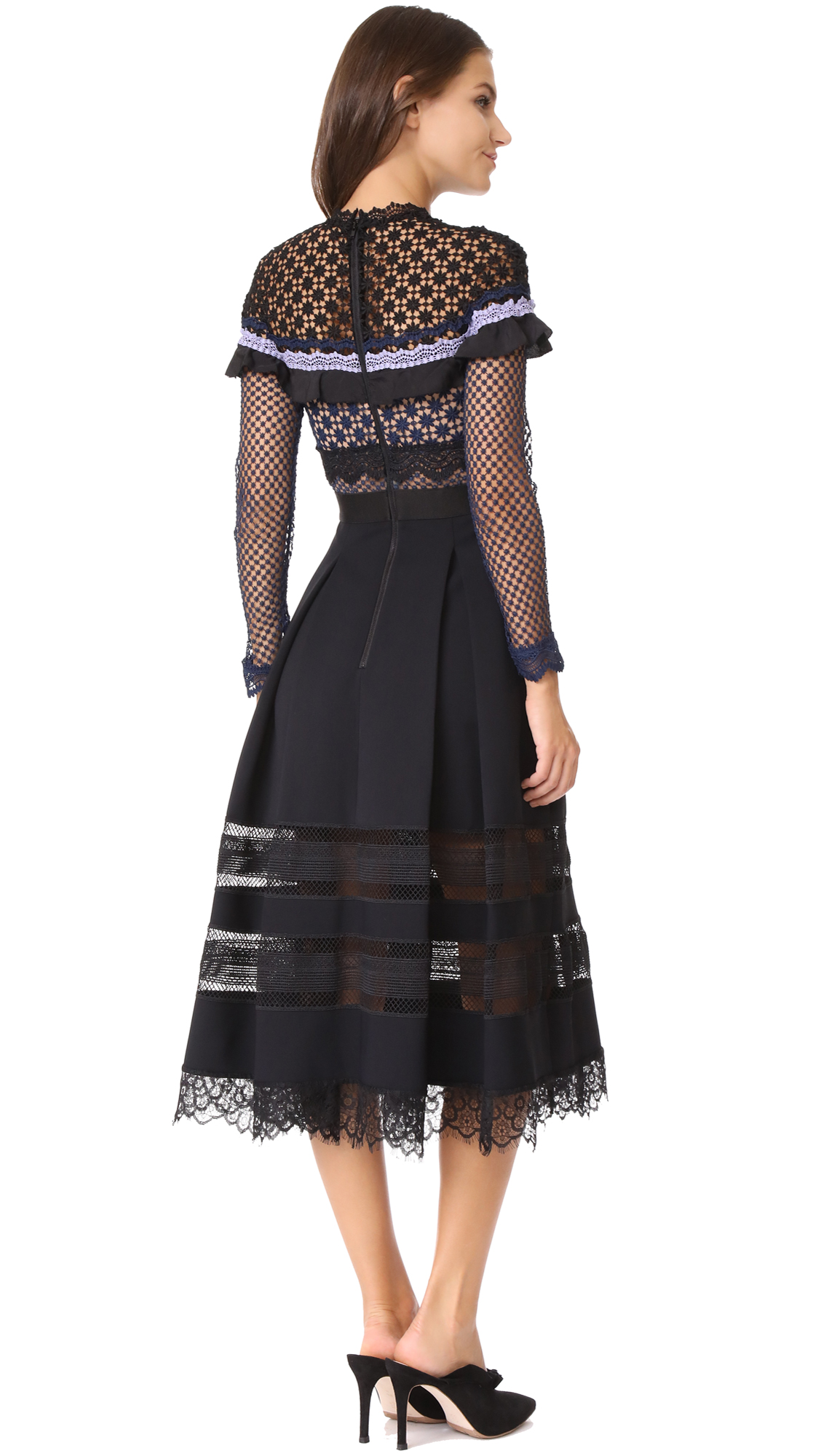 e86a3a67b8dc Self Portrait Bellis Lace Trim Dress with Full Skirt | SHOPBOP