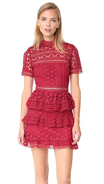 Self Portrait High Neck Star Lace Paneled Dress In Red